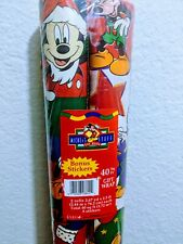 Disney 1997 Christmas Mickey Gift Wrap Paper - 40 Sq Ft With Stickers