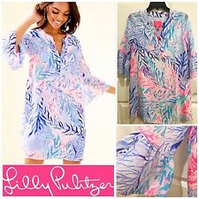 NWT $248 Lilly Pulitzer Elenora Silk Dress SMALL in Crew Blue Kaleidoscope Coral