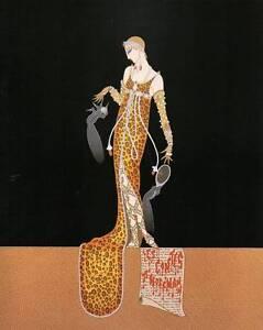 "Original Vintage Erte Art Deco Print ""Juliette"" Fashion Book Plate"