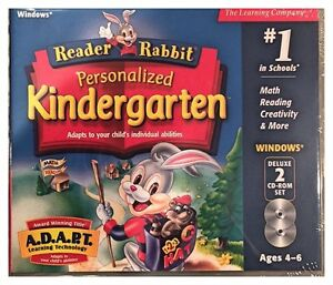 Reader Rabbit Personalized Kindergarten Pc New 2Cds XP Math Reading Creativity