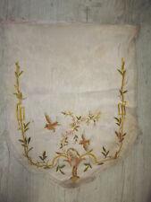 Ancien tissu broderie soie old french embroidery silk oiseau à restaurer 19e