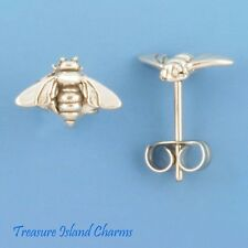 HONEY BEE .925 Sterling Silver Stud Post Earrings Hypo-Allergenic Posts