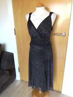 Ladies Dress Size 12 14 Black Sparkle Evening Party Smart Ruched Middle