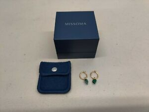 Missoma Malachite Gold Mini Shield Hinged Hoop Earrings