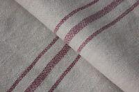 Vintage GRAINSACK grain sack feed bag red  fustian COTTON LINEN FABRIC spouted