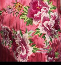 Johnny Was Silk Floral Embroidered Side Tie Short Sleeves Scarf Print Back MED