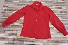 Vintage Retro Red Blouse by Lady Manhattan - Black Polka Dot Detailing - Size M