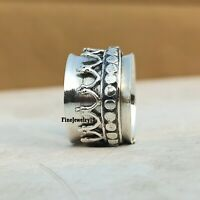 925 Sterling Silver Spinner Ring Wide Band Meditation Statement Jewelry A251