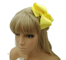 Beautiful 12 cm Ruffle Bow Hair Clip Grip in Yellow Ribbed Ribbon Fabric