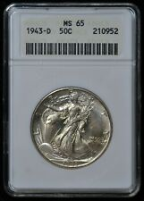 1943 D Walking Liberty Half Dollar MS-65 ANACS # 210952 Vintage Gen IV Holder