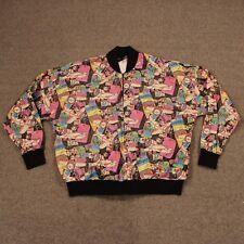 Rare Vtg 1980s Mickey Bomber DuPont Tyvek Paper Jacket L Large Neon Disney Parks