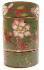 Chinese Cloissone Stackable 2-section Brass Trinket Box with Lid, Signed