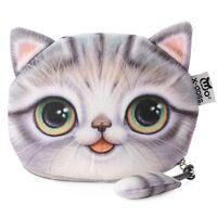 Flauschige Make-up Bag Kosmetik- und Schminktasche mit süßem Katzenmotiv Grau