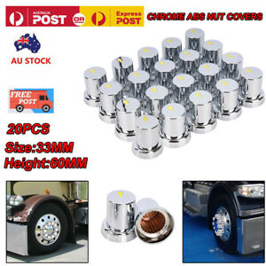 20X 33mm Safety Arrow Chrome ABS Wheel Nut Covers Caps For Trucks Trailers Bus
