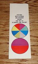 Original 1962 Plymouth and Valiant Exterior Interior Foldout Colors Brochure 62