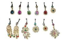 Joblot of 12 Surgical Steal & Diamante Belly Bars - NEW Wholesale lot A1