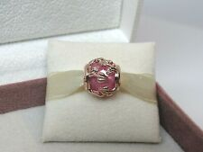 New w/Box Pandora ROSE Decorative Leaves Pink Synthetic Sapphire Charm 788238SSP