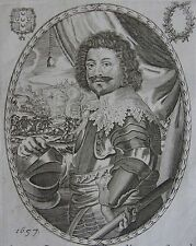 OCTAVIO PICCOLOMINI COMTE D'ARAGONA... Portrait. Gravure originale de 1657.