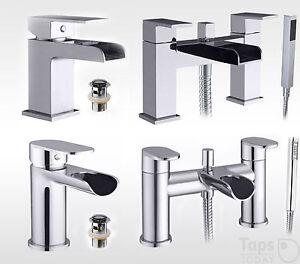 BATHROOM WATERFALL TAPS, BASIN MIXER & BATH HAND HELD SHOWER MIXER TAP