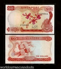 SINGAPORE $10 P3A 1967 BOAT ORCHID *W/O SEAL* SCARCE BRUNEI WORLD CURRENCY NOTE