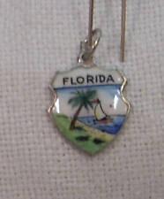Vintage REU Sterling/Enamel Florida Beach/Sailboat Bracelet/Travel Charm - NOS