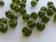 V798-1 gross 10mm Olivine Bohemian Facet Cut Glass Beads-FAB SHAPE/COLOR!