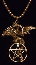 "UNISEX Sterling Silver 925 DRAGON PENTACLE Pendant on 20"" Ball Chain*****"