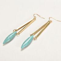 Turquoise bead ear Hook Dangle chandelier Earrings Boho Beach Jewelry Gold FS