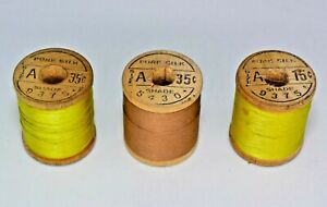 Three Vintage Wood Spools Belding Corticelli Pure Silk Size A Fly Tying Thread