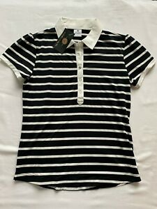 1 NWT DAILY SPORTS, WOMEN'S SHIRT, SIZE: SMALL, COLOR: BLACK & WHITE STRIPE (T5)