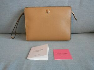Kate Spade Leather Richpecan Medium Clutch Wristlet Purse Bag