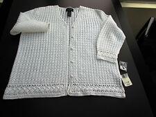 Vtg: Exclusive Hand Knit White Sweater for LAUREN RALPH LAUREN M Cardigan ¾ Slv
