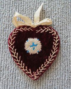 Hand-made Victorian Red Velvet Beaded Pinwheel Pincushion