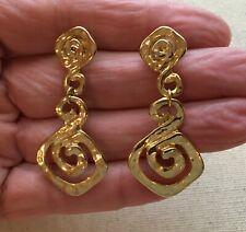 """Statement Earrings Steampunk Door-Knocker Hammered Swirl Maze Gold Tone Boho 2"""""""