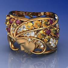 Exquisite 18K Yellow Gold Sapphire Gemstone Mens Ring Women Wedding Jewelry Gift
