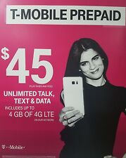 30 days Preloaded T-Mobile Sim with Prepaid plan $45 4GB 4G LTE Free First month
