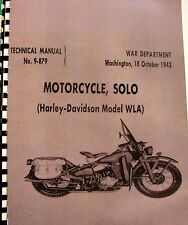 1943 Harley-Davidson  Motorcycle Solo  WLA  Manual #9-879  208 Pages Illustrated