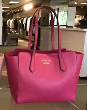 NWT Authentic GUCCI Swing Leather Tote Shoulder Bag Shopper Purse In Hot Pink