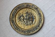 Brass Colored Decorative Wall Plate Hanging Gold Embossed Colonial Pub England