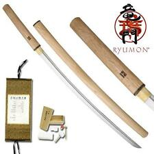 "Ryumon Hand Forged Samurai 41"" Shirasaya Sword with Scabbard Collectible"