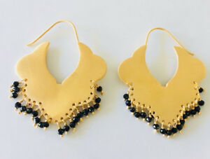 18K Gold on 925 Sterling Silver Gemstone Earrings Hoop Ethnic Tribal Black Onyx