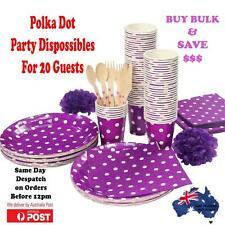 Bulk Purple Polka Dot Party Supplies Pack Plates,Glasses & Napkins