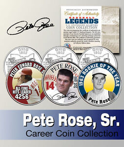 PETE ROSE SIGNATURE REDS OHIO STATEHOOD QUARTER 3 COIN SET! ROOKIE OF THE YEAR!