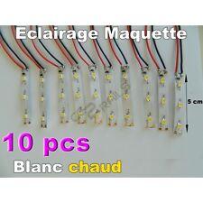 CC0091 - Lot de 10 éclairages leds blanc chaud de 5 cm pour maquette Jouef - HO