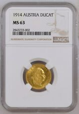 1914 Austria one ducat gold coin, NGC MS-63.