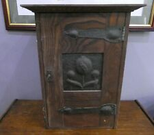 Antique Arts And Crafts Oak Wall Cupboard + Key