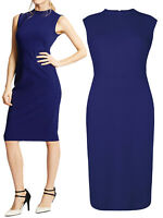 M&S Marks Spencer ROYAL BLUE SLEEVELESS BODYCON Stretch fit Midi DRESS Size 10