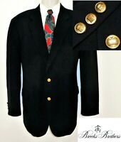 Brooks Brothers Stretch Sport Coat Blazer 44R Navy Blue Gold Buttons Wool Jacket