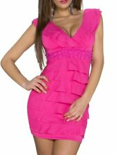 Miss Sexy Da Donna Volant PUSH UP mini abito Perline Trendy PENCIL DRESS XS/S Rosa