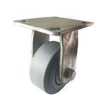 """4"""" X  2"""" Stainless Steel  Non-Marking Rubber Wheel Caster - Rigid (Flat)"""